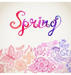 Watercolor floral greeting card with spring vector