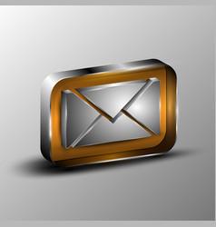 3d envelope button vector image vector image