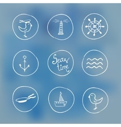 Sea handdrawn icons on watercolor background vector