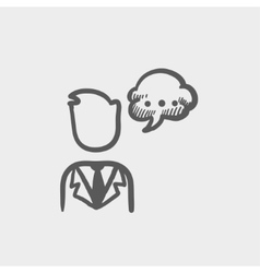 Man with speech bubble sketch icon vector