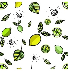 Seamless pattern with lemons on white vector