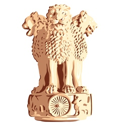 Indian lions emblem of ashoka vector