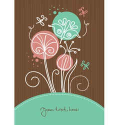 Floral background with cartoon dragonflies vector