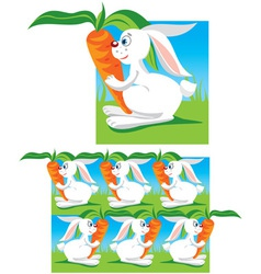 Funny hares and carrots vector