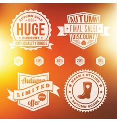 Autumn sale vintage badges set with abstract vector