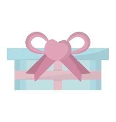 Blue gift box pink bow heart vector