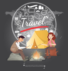 camping in night with travel icons on world map vector image vector image
