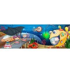 Children riding in tunnel underwater vector