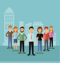 color background with full body group people vector image vector image
