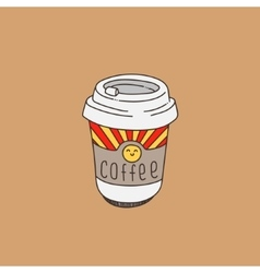 Cute coffee cup on cream-coloured background vector image vector image
