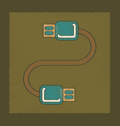 Flat shading style icon usb cable vector