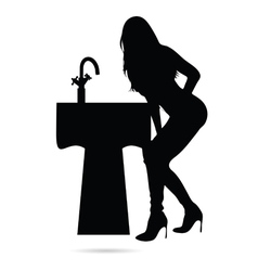 girl beauty silhouette with sink vector image vector image
