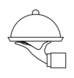hand waiter with tray server isolated icon vector image vector image
