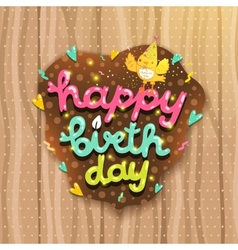 Happy Birthday card with bird and lettering vector image