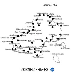 Island of skiathos in greece map on white vector