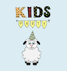 Kids party lettering party with baby lamb vector