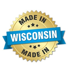 made in Wisconsin gold badge with blue ribbon vector image