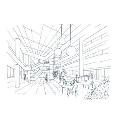 modern interior shopping center mall contour vector image vector image