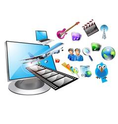 multimedia computer vector image vector image
