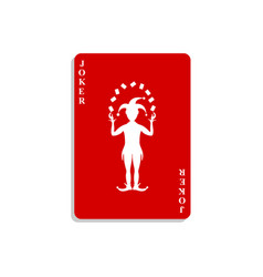 Playing card with joker in red design with shadow vector
