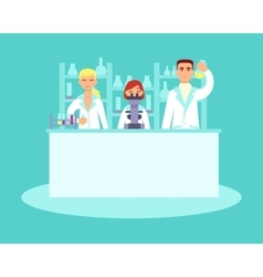 Scientists conducting research in laboratories vector