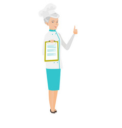 Senior caucasian chef holding clipboard vector