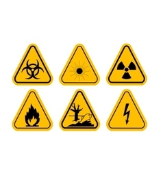 Set of triangle yellow warning icons vector