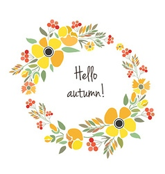 Signature hello autumn with red brown and orange vector