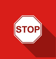 Stop sign icon isolated with long shadow vector