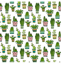 Succulent and cactus seamless pattern colorful vector