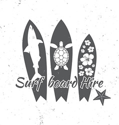 Surf board hire concept summer surfing retro badge vector