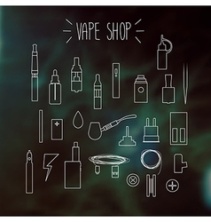 The linear icons on a blurred background Vape vector image