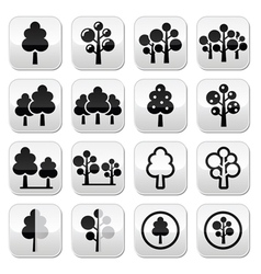 Trees forest park buttons set vector image
