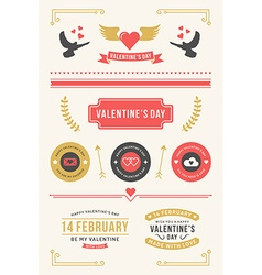 Valentines day set labels badges frames borders vector