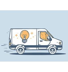 Van free and fast delivering bulb light t vector