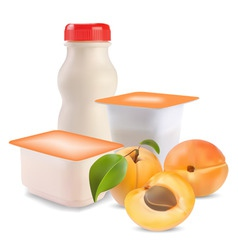 yogurt and apricot vector image