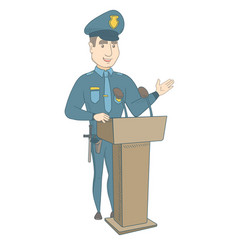 Young policeman giving a speech from the tribune vector