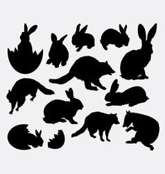 Rabbit activity animal silhouette vector
