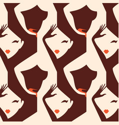 Woman seamless pattern vector