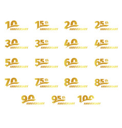 Isolated golden color numbers icons collection on vector