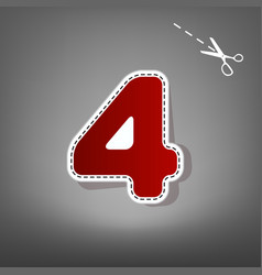number 4 sign design template element  red vector image