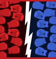 Boxing battle team blue vs reds gloves hit vector