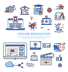 Online education colorful line icons and vector