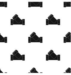 Tee plumbing fitting icon in black style isolated vector