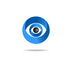 3d abstract human eye logo media blue icon vector