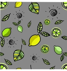 Seamless pattern with lemons on grey vector