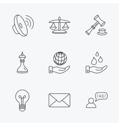 Strategy auction and scales of justice icons vector