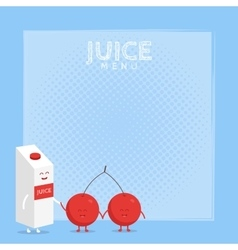 Funny cute cherry juice packaging and glass drawn vector
