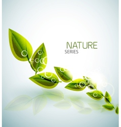 Flying green leaves nature background vector
