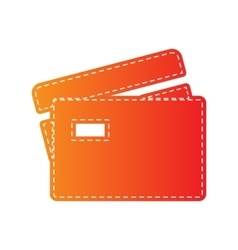 Credit card sign orange applique isolated vector